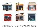 facades of various shops set ... | Shutterstock .eps vector #1229818525