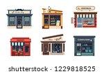 facades of various shops set ... | Shutterstock .eps vector #1229818525
