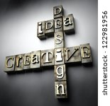 Creative idea design concept, 3d vintage letterpress text - stock photo