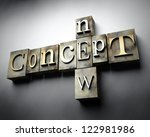 New concept, 3d vintage letterpress text - stock photo