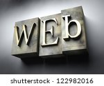 Web concept, 3d vintage letterpress text - stock photo