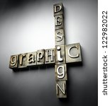 Graphic design concept, 3d vintage letterpress text - stock photo