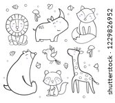 cute animals outline vector... | Shutterstock .eps vector #1229826952