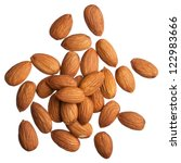 almonds isolated on white... | Shutterstock . vector #122983666