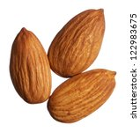 three almonds isolated on white ... | Shutterstock . vector #122983675