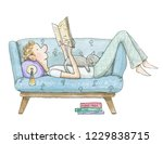 young man lies on the couch... | Shutterstock . vector #1229838715
