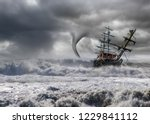 Sailing Old Ship In Storm Sea...