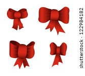 set of red bows isolated on... | Shutterstock .eps vector #122984182