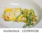 Stock photo lasagna with cheese and fried zucchini 1229844238