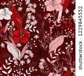 blossom floral seamless pattern.... | Shutterstock .eps vector #1229845552