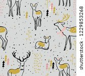 adorable seamless pattern with... | Shutterstock .eps vector #1229853268