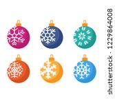 set of different christmas ball ... | Shutterstock .eps vector #1229864008