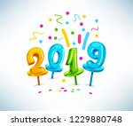 2019 happy new year sign vector ... | Shutterstock .eps vector #1229880748