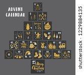 christmas advent calendar. hand ... | Shutterstock .eps vector #1229884135