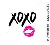 xoxo brush lettering sign ... | Shutterstock .eps vector #1229884168