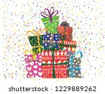vector image of holiday gifts... | Shutterstock .eps vector #1229889262