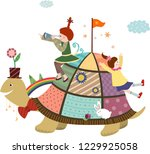 the turtle and girls | Shutterstock .eps vector #1229925058