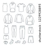 outline men casual clothes for... | Shutterstock .eps vector #1229928895