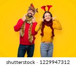 couple dressed up for the... | Shutterstock . vector #1229947312