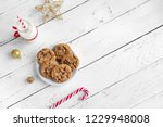 chocolate chip cookies and milk ... | Shutterstock . vector #1229948008