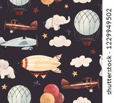 cute kids watercolor pattern.... | Shutterstock . vector #1229949502