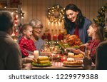 merry christmas  happy family... | Shutterstock . vector #1229979388