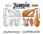 pig head  knife  hamon slice ... | Shutterstock .eps vector #1229981308