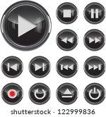 black glossy multimedia control ... | Shutterstock .eps vector #122999836