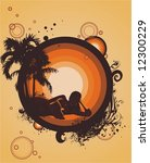 a woman silhouette relaxing... | Shutterstock .eps vector #12300229