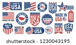 large set of made in usa labels ... | Shutterstock .eps vector #1230043195