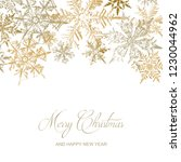 gold snowflakes christmas card  ... | Shutterstock .eps vector #1230044962