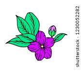 flower with leaves illustration | Shutterstock . vector #1230052282