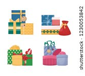 set of cartoon gift boxes with... | Shutterstock .eps vector #1230053842
