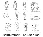 autumn figures set. stick men ... | Shutterstock .eps vector #1230055405