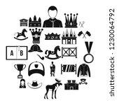 horsemanship icons set. simple...