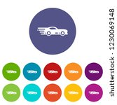 sport car icons color set for...