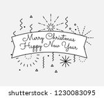 vector vintage merry christmas... | Shutterstock .eps vector #1230083095