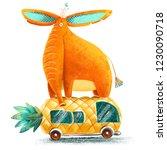 Big Orange Elephant Riding A...