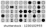 grey clock line icons isolated...