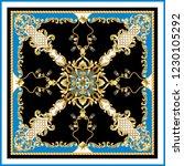 design scarf with golden... | Shutterstock .eps vector #1230105292