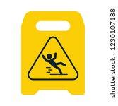 beware of slippery. yellow sign.... | Shutterstock .eps vector #1230107188