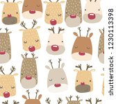 seamless pattern with cute deer.... | Shutterstock .eps vector #1230113398