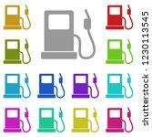 gas station icon in multi color....
