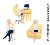 blonde man watching tv  working ... | Shutterstock .eps vector #1230115015