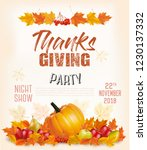 happy thanksgiving flyer with... | Shutterstock .eps vector #1230137332
