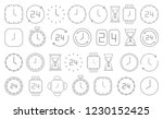 black clock icons isolated on...