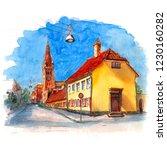 watercolor sketch of historic...   Shutterstock . vector #1230160282