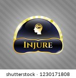 shiny badge with head with... | Shutterstock .eps vector #1230171808