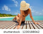 young fashion woman relax on... | Shutterstock . vector #1230188062