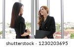 businesswomen using notebook...   Shutterstock . vector #1230203695